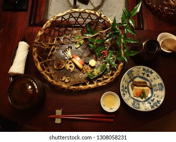 Dinner in Japanese traditional food in Japanese ryokan