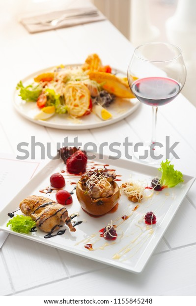 Dinner Lunch Dish Per One Person Stock Photo (Edit Now