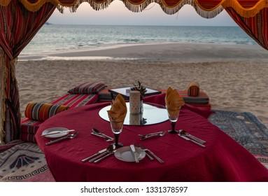 Dinner on the beach. Dubai, UAE.