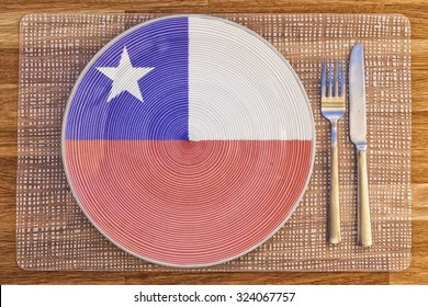 Dinner plate with the flag of Chile on it for your international food and drink concepts.