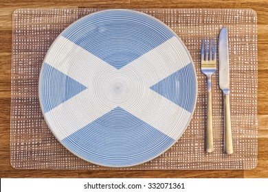 Dinner plate with the flag of Scotland on it for your international food and drink concepts.