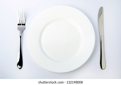 Dinner Plate, Knife, and Fork