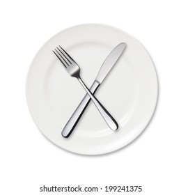Dinner plate, knife and fork with clipping path