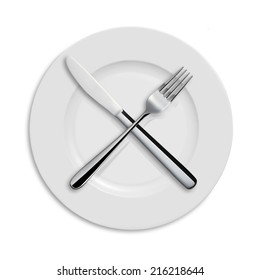 Dinner Plate, Knife, and Fork on white background