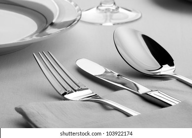 Dinner set. Fork, knife and spoon on the table