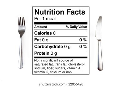 Dinner setting with 0 calories nutrition label instead of a plate. Concept for dieting, nutrition, anorexia.