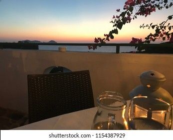 Dinner with sunset on Ponza island. You can view Palmarola in Italy