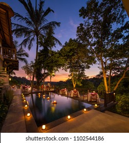 Dinner at sunset at a resort in Ubud, Bali, Indonesia