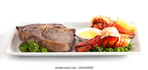 A Dinner of Surf and Turf of Steak and Lobster Tails