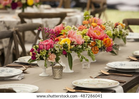 Dinner Table Antique Place Settings Wedding Stock Photo Edit Now