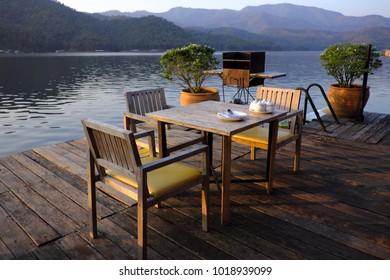 Dinner table beside the lake