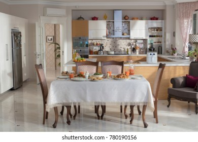 Dinner Table and Kitchen-Blurred Background