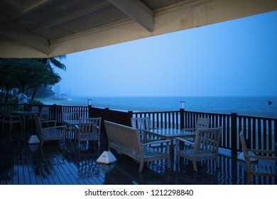 dinner table near the sea in evening
