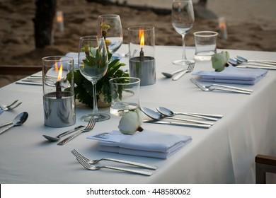 dinner table on the beach at Thailand