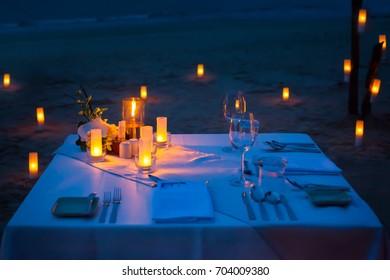 dinner table on the beach at Thailand.