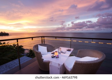 Dinner table overlooking the sunset
