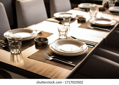 Dinner table in a restaurant and café