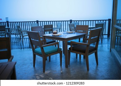 dinner table with the sea in evening