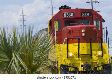 Dinner train on railroad tracks