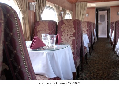 Dinner train seating and aisle