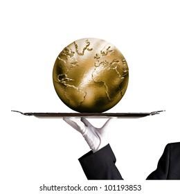Dinner tray world globe gold