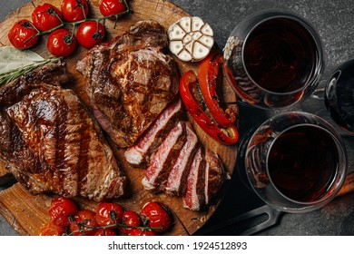 dinner for two with steaks and red wine