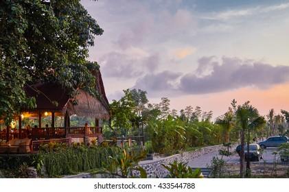Dinner at a warung in Bali at sunset