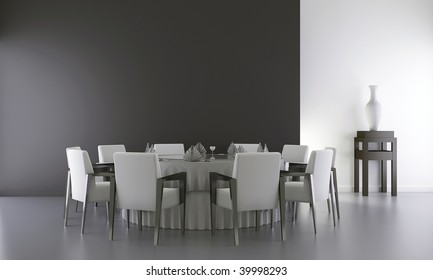 Dinning Room - Chair and table to face a blank wall