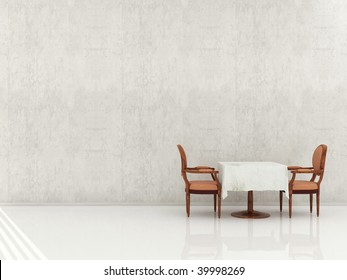 Dinning room setting - Chair and Table to face a blank wall