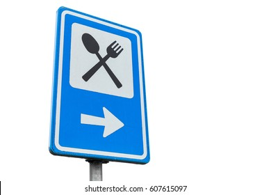 Dinning service road sign isolated on white background, close up photo