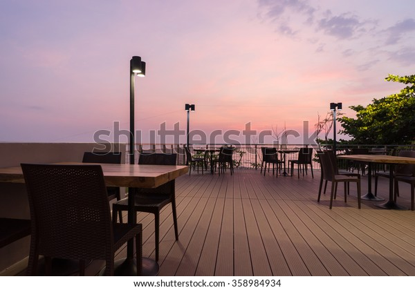 Dinning table exterior with twilight background