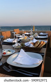 Dinning table with snacks in the beach restaurant