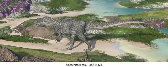 Dinosaur Allosaurus in a landscape Computer generated 3D illustration