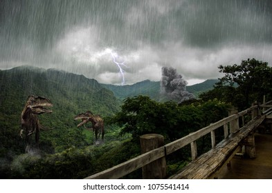 Dinosaur background, The hunting grounds of a Acrocanthosaurus in Hill evergreen forest.