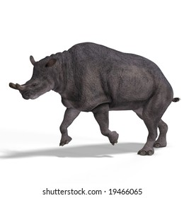 Dinosaur Brontotherium With Clipping Path over white