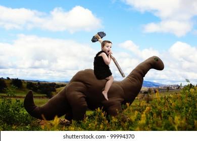 Dinosaur and Cave-boy's dreamy adventure