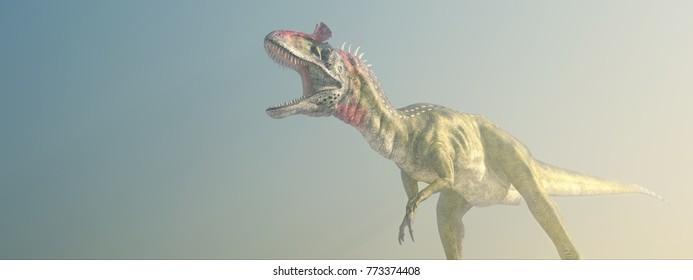 Dinosaur Cryolophosaurus in the fog Computer generated 3D illustration