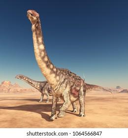 Dinosaur Diamantinasaurus in the desert Computer generated 3D illustration