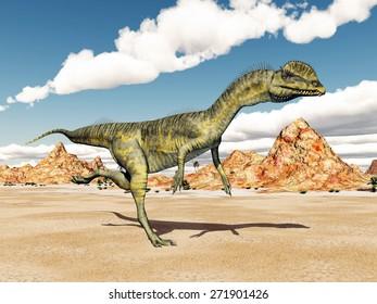 Dinosaur Dilophosaurus Computer generated 3D illustration