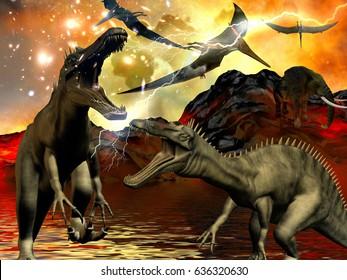 Dinosaur doomsday 3d rendering