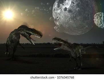 Dinosaur habitat, The hunting grounds of a Acrocanthosaurus  in Hill evergreen forest.