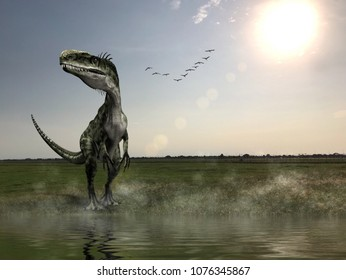 Dinosaur habitat, The hunting grounds of a Acrocanthosaurus in Tropical grassland forest.