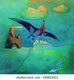 Dinosaur in the habitat. Illustration Of Pterosaur
