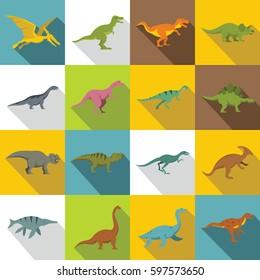Dinosaur icons set. flat illustration of 16 dinosaur  icons for web