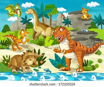The dinosaur land - illustration for children