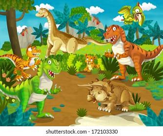 The dinosaur land - illustration for the children