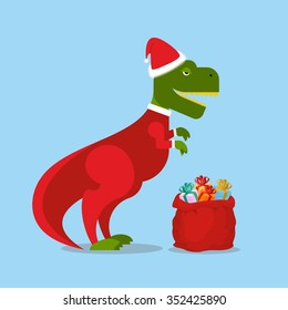 Dinosaur Santa Claus. T-Rex in  Christmas hat. Tyrannosaurus with gift bag. Hilarious lizard with  smile from new year. Holiday postcard, poster.