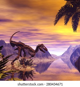 Dinosaur Skeleton in a fantasy landscape in the sunset