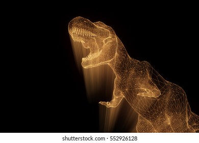 Dinosaur TRex in Hologram Wireframe Style. Nice 3D Rendering