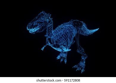 Dinosaur TRex Skeleton in Hologram Wireframe Style. Nice 3D Rendering